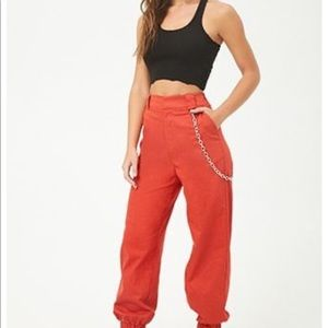 Women's Red Chain-accent Pants